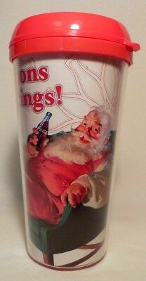 Coca-Cola Thermal Travel Mug Christmas Cup Coke Insulated Tumbler Santa NEW Lid
