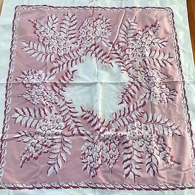"""Vintage Callaway cotton pink floral 46"""" square tablecloth"""