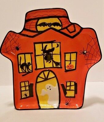 Real Home Halloween Haunted House Serving Platter Dish Ghost Witch Bat JOL Cat