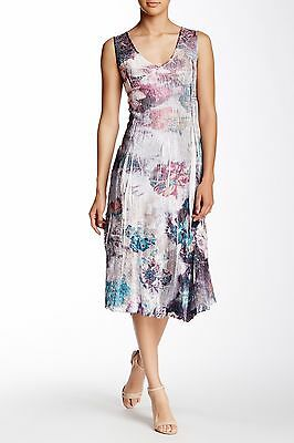 287aad0b9df NWT KOMAROV Gray Floral Lace Trimmed Crinkle Sleeveless V-Neck Dress XS  278