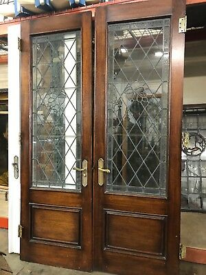 "Leaded Blue-Chip glass French doors 93 1/2"" X 29 1/2"" Ea 59"" Total Open"