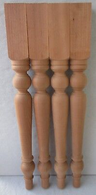 "SET 4 NEW UNFINISHED CHERRY FARM DINING TABLE FURNITURE LEGS  28 3/4"" high"