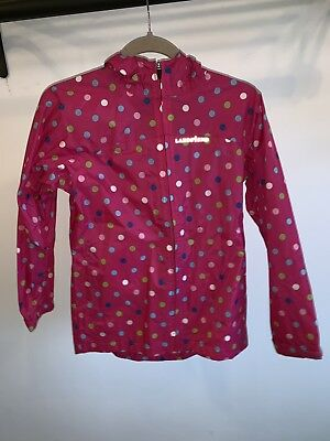 Lands End Kids Girls Pink Polka Dot Packable Rain Jacket Hood Zip Sz M 10-12
