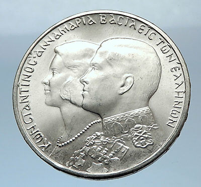1964 Greece CONSTANTINE II Marries Anne-Marrie from Denmark Silver Coin i72434
