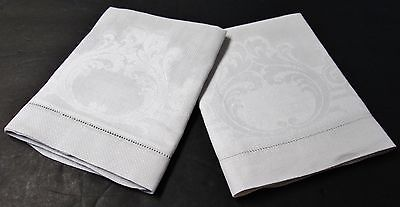 Antique Pr Nubby Linen Towels Acanthus Leaves & Scrollwork Millmarks Hemstitched
