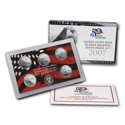 2007 United States Mint 50 State Quarters Silver Proof Set - 5 States Quarters