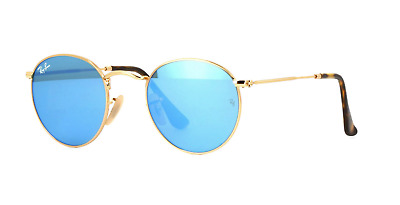 14a88c1867e9a3 Ray Ban RB3447-N 001 9O Sunglasses Shiny Gold Frame Green Blue Flash Lens