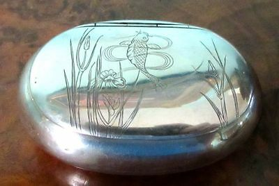 Antique japanese Sterling Silver Snuff Box, Early 1800s