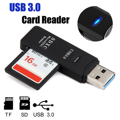 High Speed Memory Card Reader USB 3.0 Adapter 2 in1 Flash Micro SDXC TF SD Black