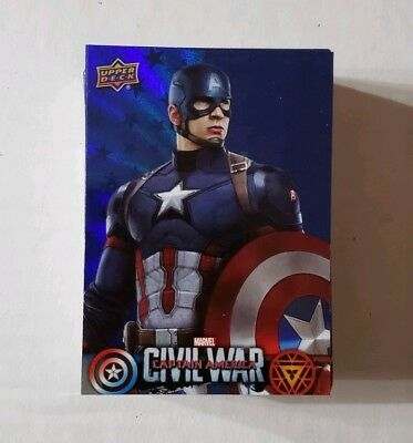 2016 Captain America Civil War Walmart Exclusive 50 Card BLUE Holofoil Set