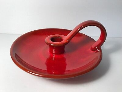 Vintage Blue Mountain Pottery Flame Red Glaze Candlestick Holder Mid Century