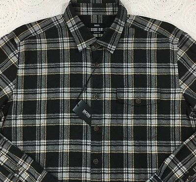 dfbf754df Hugo Boss Mens L/S Flannel Shirt 2XL XXL Regular Fit Black Gray Plaid New