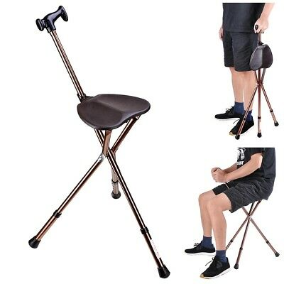 Collapsible Walking Stick Cane with Seat Bronze Adjustable Legs 35x35x78cm 160Lb
