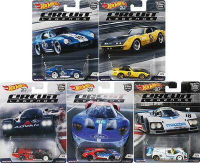 Circuit Legends Car Culture Set 5 Modellautos Ford Porsche 1:64 Hot Wheels FPY86