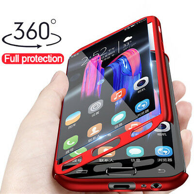 For Samsung Galaxy J8 J6+ J4+ 2018 360° Full Protect Case Cover + Tempered Glass