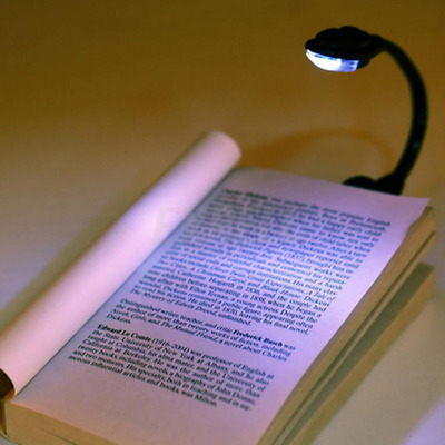 Portable Flexible Travel Book Reading Light Lamp Mini LED Clip Booklight+Battery