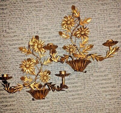 Vintage Pair Gilt Tole Double Candle Wall Sconces Italian MCM Chic Daisy Floral