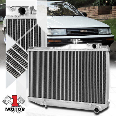 "2-ROW FULL ALUMINUM RACING RADIATOR+2X 10/""RED FAN FOR 84-87 TOYOTA COROLLA AE86"