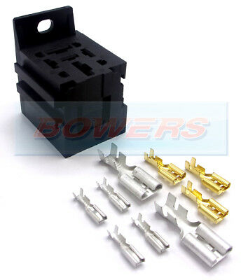 Relay Base Holder + Mounting Bracket & Terminals 4/5 Pin Heavy Duty Power Relays