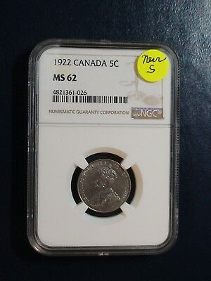 1922 Canada Five Cents NGC MS62 BETTER DATE NEAR S 5C Coin PRICED TO SELL!