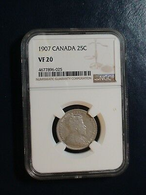 1907 Canada Twenty Five Cents NGC VF20 SILVER 25C Coin PRICED TO SELL!