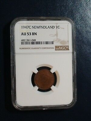 1947C NEWFOUNDLAND CENT NGC AU53 BN ABOUT UNC 1C Coin PRICED TO SELL NOW!