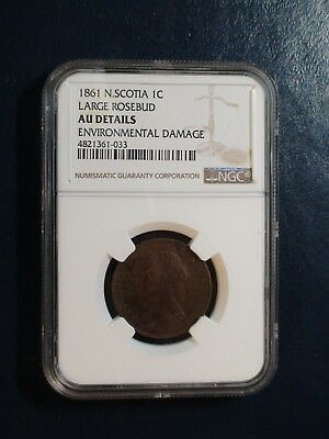 1861 NOVA SCOTIA LARGE CENT NGC AU LARGE ROSEBUD 1C Coin PRICED TO SELL NOW!