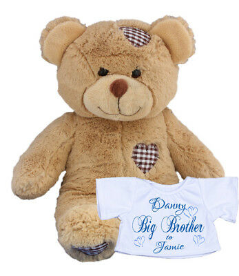 Personalised Teddy Bear Rabbit Little Big Brother Sister New Baby Gift Present