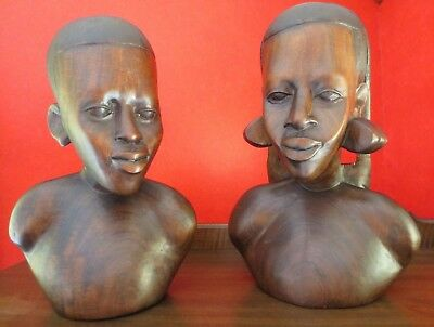 Set Vintage Hand-Carved African Wood Head Bust Tribal Statue Sculpture
