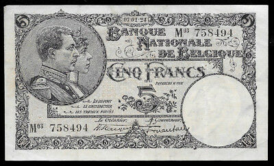 World Paper Money - Belgium 5 Francs 1924 P93 @ VF-XF Condition