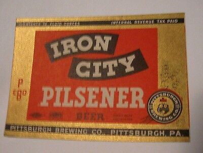IRON CITY BEER IRTP 12oz Label Pittsburgh PENNSYLVANIA Internal Revenue Tax Paid