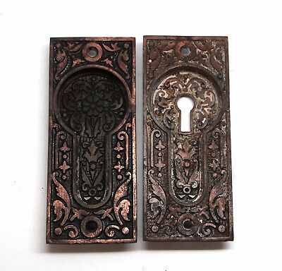 Pair of Cast Iron Sargent Aesthetic Pocket Door Plates