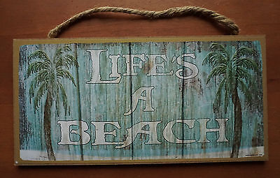 LIFES A BEACH Sign Rustic Primitive Style Coastal Wood Plank Tiki Bar Home Decor