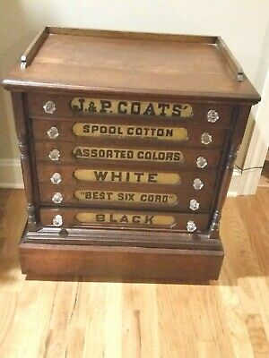Antique JP Coats Spool Cabinet - 6 drawer - Solid Walnut
