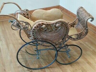 Antique Wicker Doll Buggy Baby Carriage - Large Size