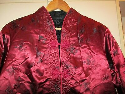 Vintage Chinese  Fleece Lined Brocade Jacket Size Large  Good Condition
