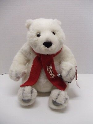 """Coca Cola Polar Bear 10"""" Plush Stuffed Toy with Scarf And Coke Bottle Christmas"""