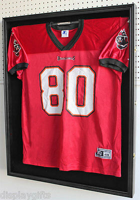 X-Large Football Jersey  Display Case Wall Frame -UV PROTECTION, LOCKS, JC02-BLA