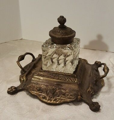 Elaborate Antique Bronze ? Ink Footed Stand with Glass Inkwell