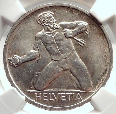 1944 SWITZERLAND- 500 Years of Battle of St. Jakob Silver Swiss Coin NGC i73903