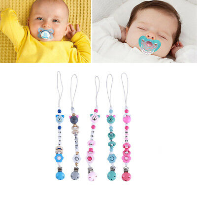 Lovely Silicone Bear Beads Baby Nipple Dummy Soother Clip Pacifier Chain Holder