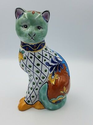 Chinese Oriental Porcelain Large Sitting Cat Figurine Hand Painted Floral Motif