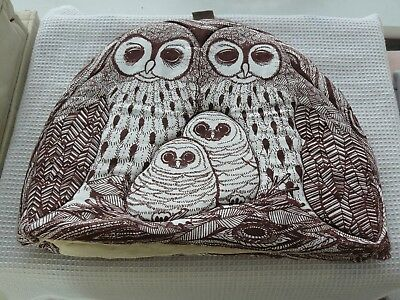 Tea cosy Teapot cover, padded, owls design. White & brown 32cm Wide 24cm High