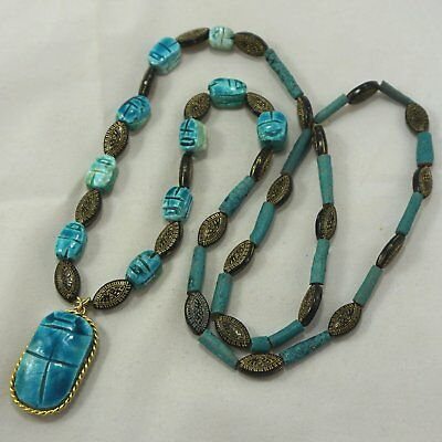 Vintage Egyptian Revival Blue Scarab Faience Pottery Mummy Dig Bead Necklace 30""