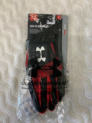 Under Armour Men's UA Clean Up Baseball Batting Gloves 1299530-002 BLK/RED/WHT