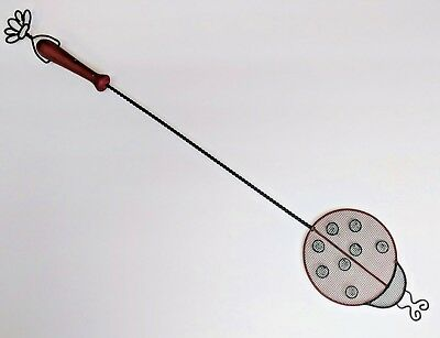 Ladybug Flyswatter Rustic Bug Insect Wasp Whimsical Fly Swatter Metal Wood