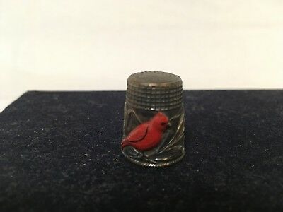 Thimble Victorian Silver Red Cardinal and Wheat ~ Antique Silver Thinble