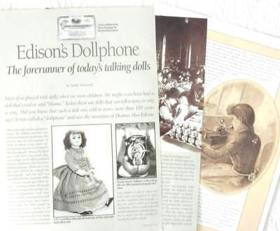 8p History Article + Pics- Antique American Edison Talking Dollphone
