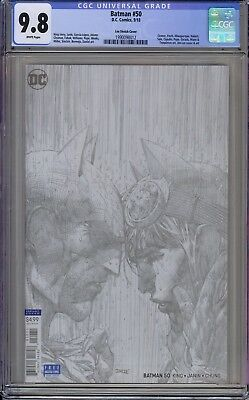 CGC 9.8 Batman #50 (Sept 2018, DC) Jim Lee 1:100 Sketch Variant Cover. See Scans