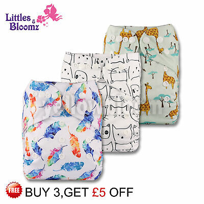 3 Washable Reusable Pocket Standard Cloth NAPPY Diaper